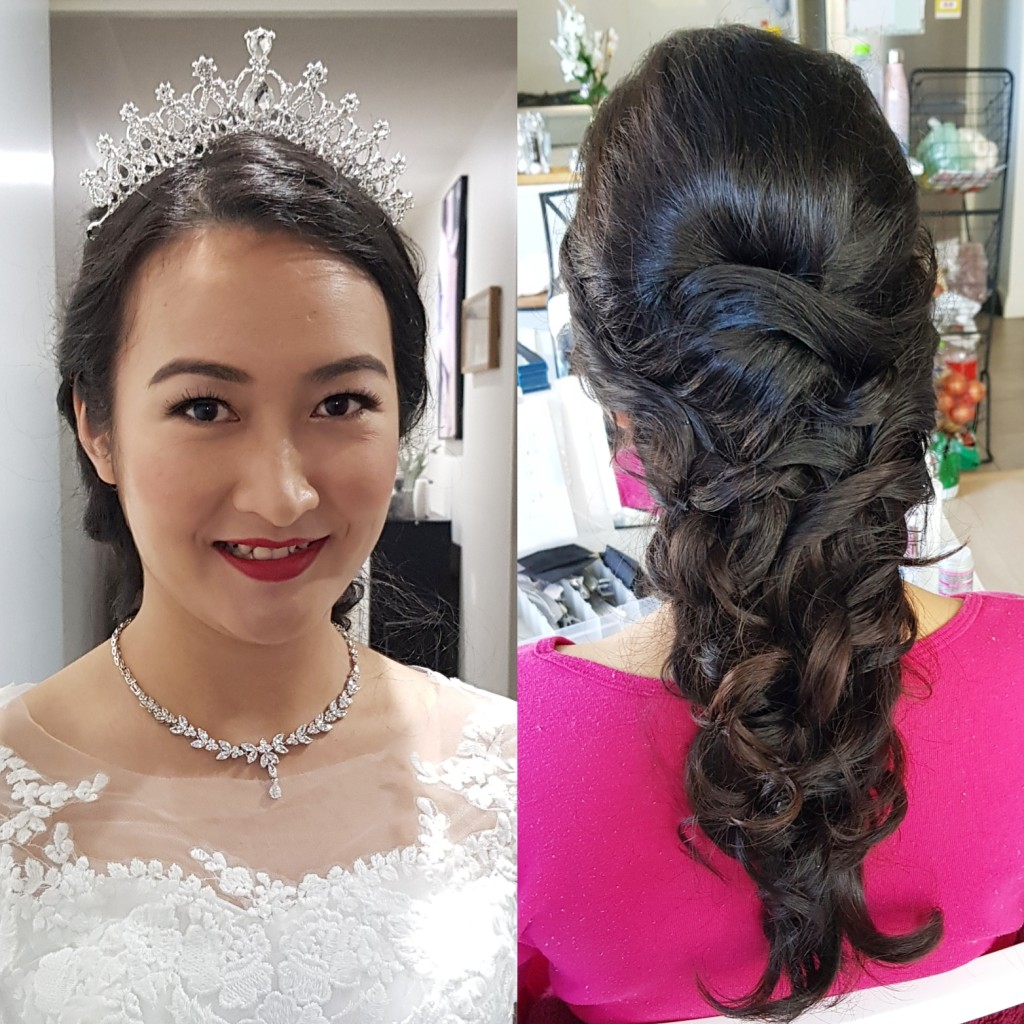 fishtail braid and tiara bride